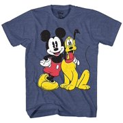 Mickey Mouse & Pluto Classic Distressed Vintage Dog Disney World Disneyland Funny Mens Adult Graphic Tee T-Shirt