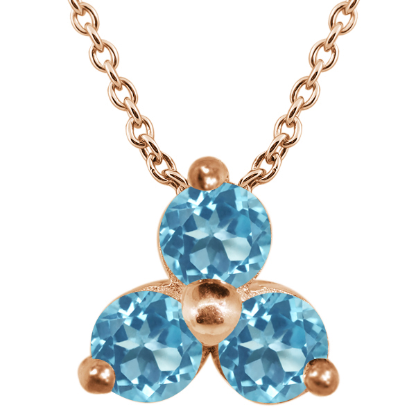 0.45 Ct Round Swiss Blue VS Topaz 925 Rose Gold Plated Silver Pendant