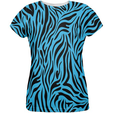 - Zebra Print Blue All Over Womens T-Shirt