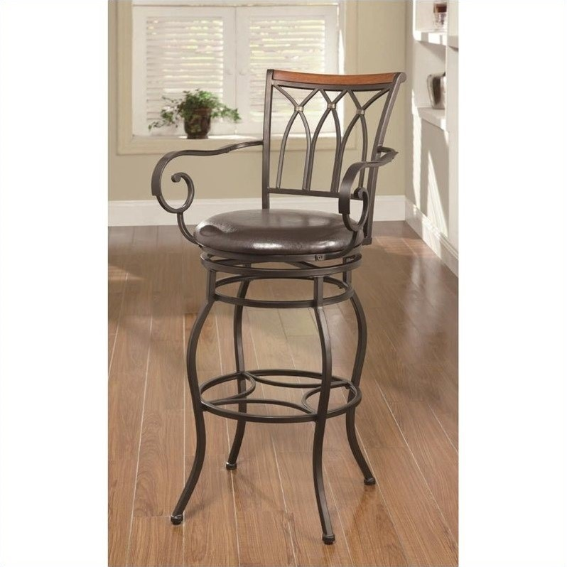 Coaster 29 Quot Decorative Metal Bar Stool With Wood Trim In
