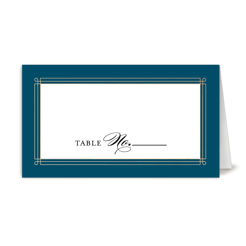 Personalized Wedding Place Card - Elegant Lines - 3.5 x 2 Folded