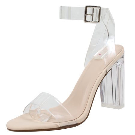 0ec88db90cd Delicious Women's Cinderella Clear Ankle Straps Perspex Lucite Clear Block  Heel Sandal (Nude, 8 B(M) US)