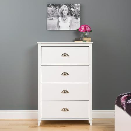 Yaletown 4-Drawer Chest, White Prepac Drawer Dresser