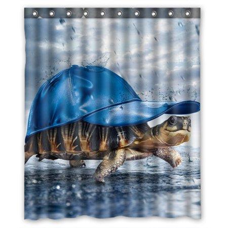 Rainshower Set (ZKGK Art Turtle Wear Cap In The Rain Waterproof Shower Curtain Bathroom Decor Sets with Hooks 66x72 Inches)
