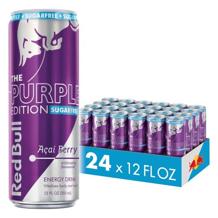 (24 Cans) Red Bull Energy Drink, Sugarfree Acai Berry, 12 Fl Oz, Purple Edition