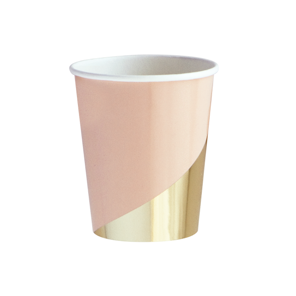Harlow & Grey, Goddess Peach Blush and Gold Foil Colorblock Paper Cups, 9 oz, 8 Count