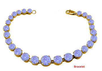 December Birthstone Prong Set Created Tanzanite Bracelet in 18K Yellow Gold Over Sterling Silver by Love Bright