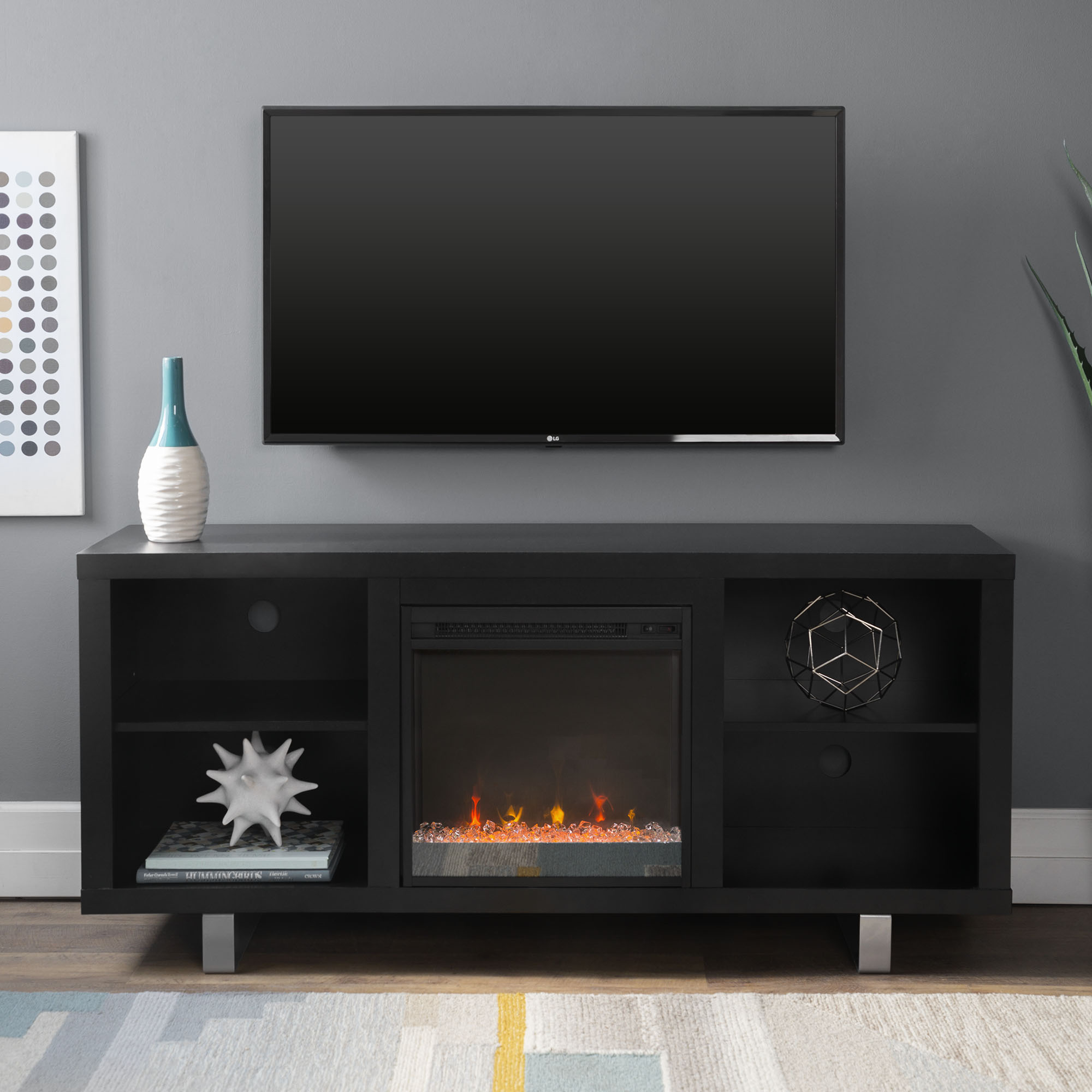 58 Modern Electric Fireplace Tv Stand Media Console Entertainment