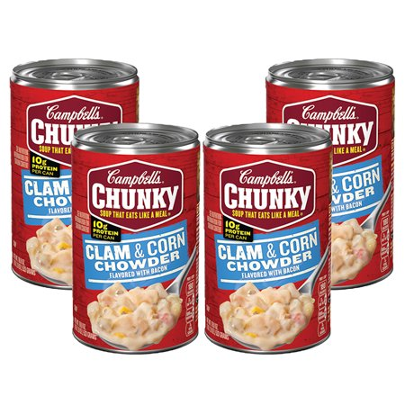 (4 Pack) Campbell's Chunky Clam & Corn Chowder with Bacon, 18.8