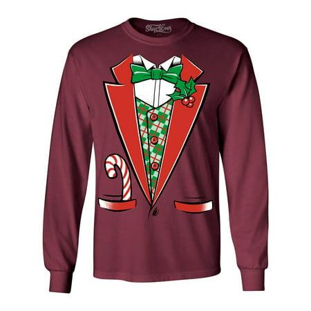 Shop4Ever Men's Christmas Tuxedo Costume with Plaid Vest Long Sleeve Shirt Plaid Print Vest