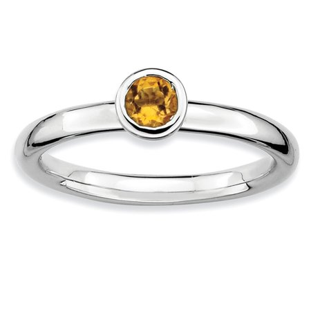 Sterling Silver Stackable Expressions Low 4mm Round Citrine Ring - .23 cwt - Size 7 (Valentine Crab)