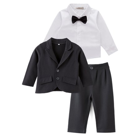 StylesILove Baby Boy Tuxedo Formal Wear Suit 3-PC Shirt Pants and Jacket (18-24 Months)