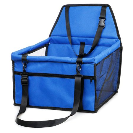 MyfatBOSS Pet Car Booster Seat for Dogs Cats Pet?Portable Pet Dog Booster Car Seat with Clip-On Safety Leash (Blue)