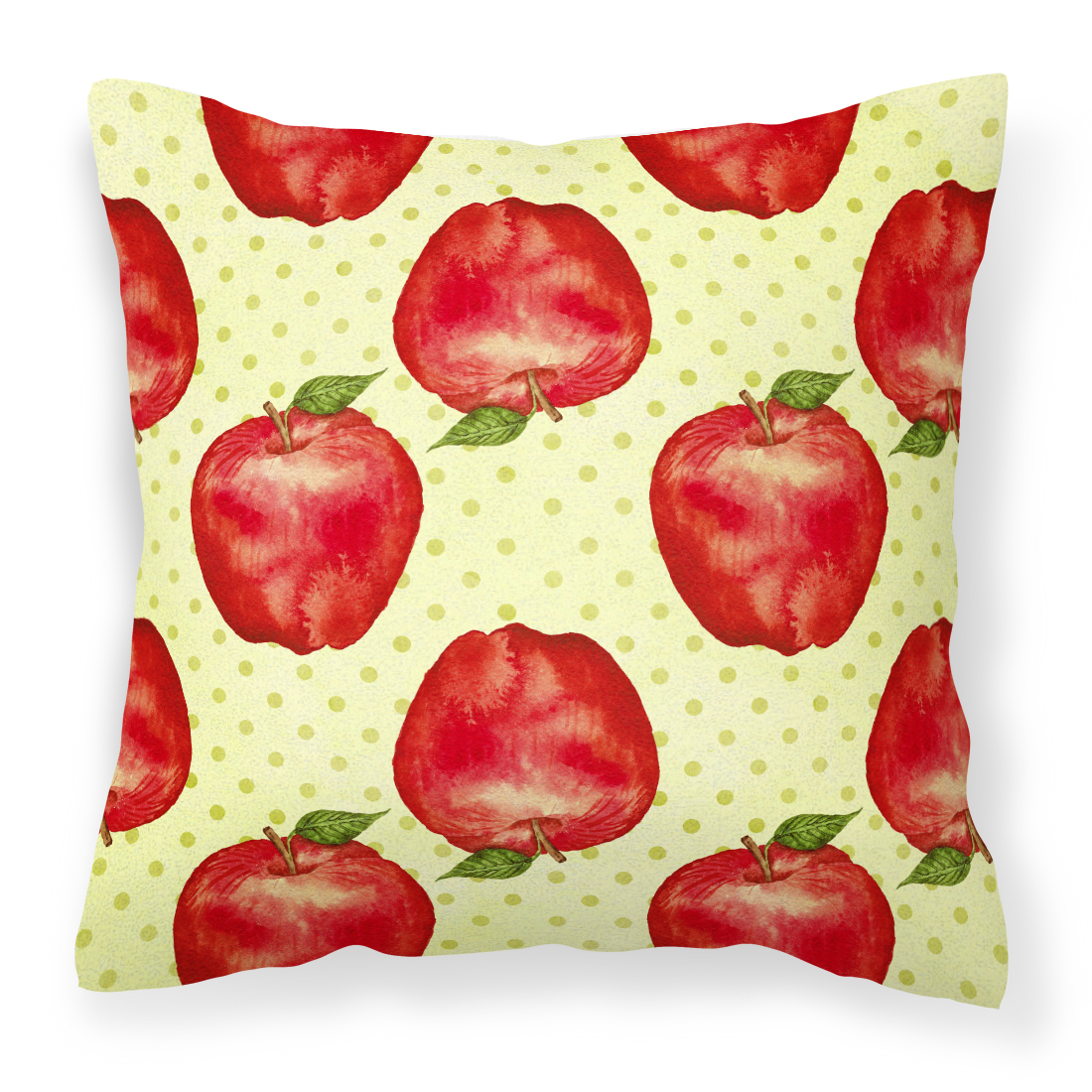 Watercolor Apples and Polkadots Fabric Decorative Pillow