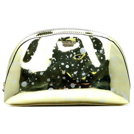 Victoria's Secret Metallic Gold Splash Cosmetics Bag with Zipper