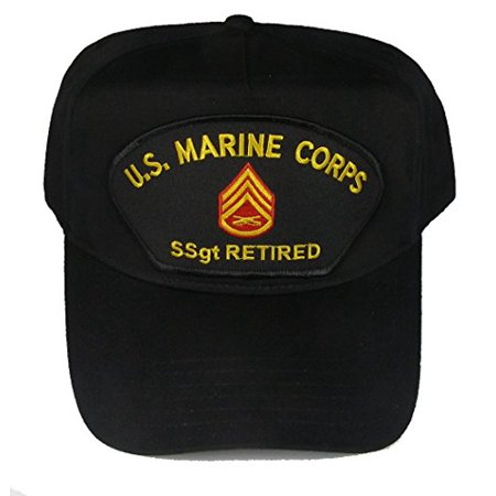 U.S. MARINE CORPS SSGT RETIRED HAT with Staff Sergeant Rank In The Center cap - BLACK - Veteran Owned