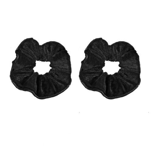 2 Pcs Velvet Wrap Stretchy Hairband Hair Ties Black for Girl
