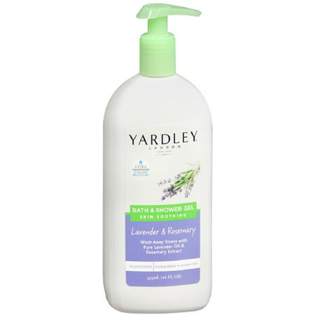 Yardley London Skin Soothing Bath & Shower Gel, Lavender & Rosemary 16 oz (Pack of 2)