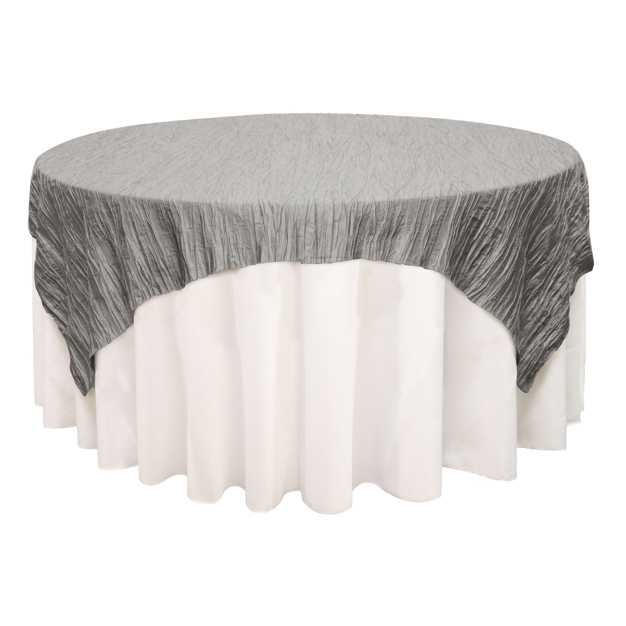 Your Chair Covers - 90 inch Square Crinkle Taffeta Table Overlay Blush for Wedding, Party, Birthday, Patio, etc.