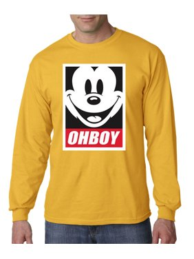 New Way 416 - Unisex Long-Sleeve T-Shirt Oh Boy Mickey Mouse Face Anonymous Dope Large Purple