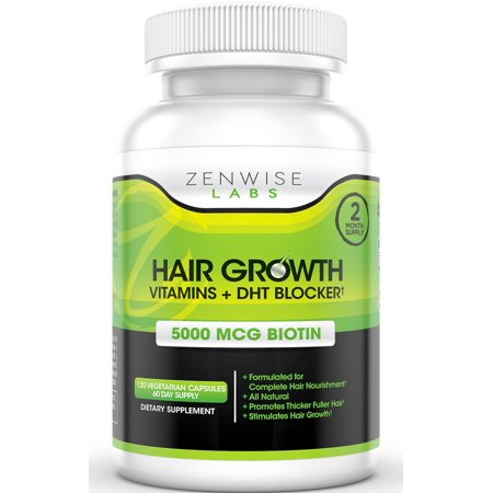 Hair Growth Vitamins Supplement - 5000mcg of Biotin and DHT Blocker for Hair Loss and Baldness - Contains Vitamins That Stimulate Hair Growth and Shine for Men and Women - 120 Pills for 2 Month
