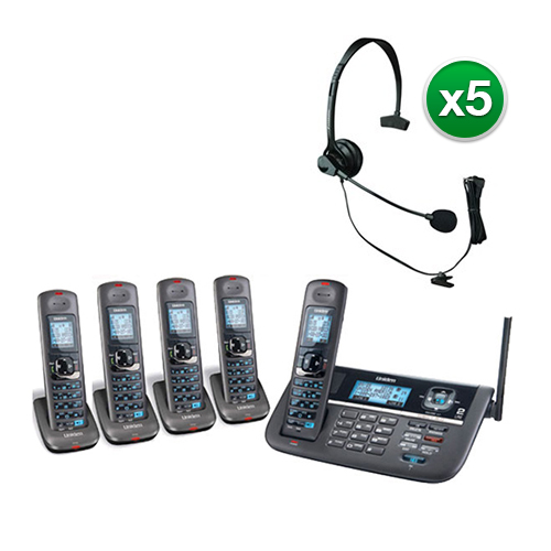 Uniden DECT4086-5 with Headset DECT 6.0 2 Line Cordless Phone System by Uniden