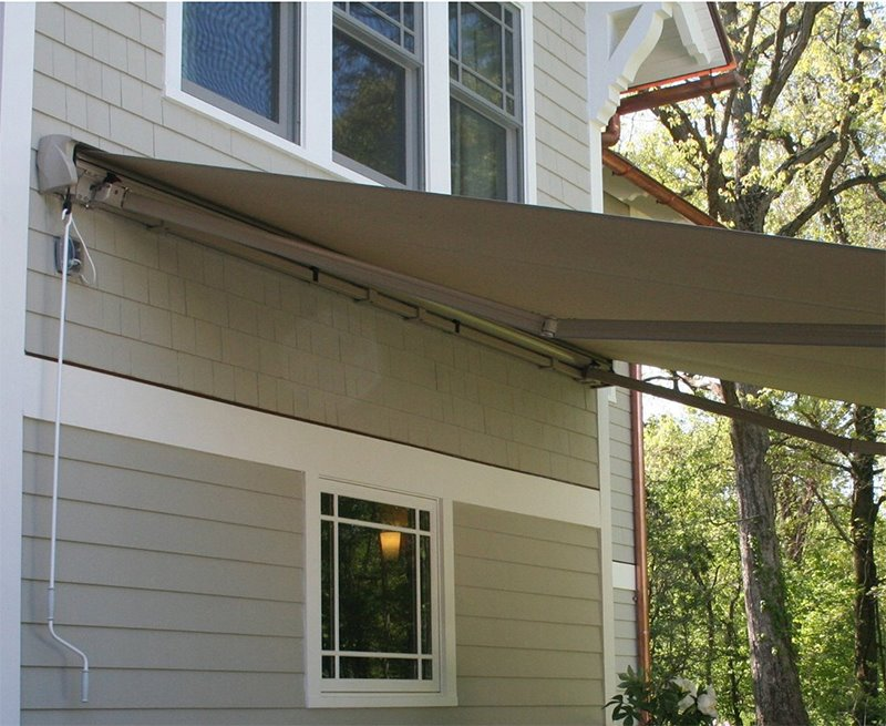 10u0027x8u0027 Manual Retractable Patio Awning Outdoor Sun Shade Canopy, Tan Image 4