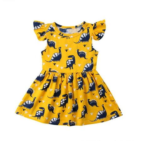 Newborn Kid Baby Girls Dinosaur Floral Party Pageant Prom Dress Sundress](Newborn Baby Girl Party Dresses)
