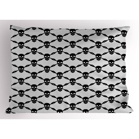 Halloween Al Room 26 (Gothic Pillow Sham Halloween Horror Theme Spooky Black Skulls Checkered Pattern with Skeleton Bones, Decorative Standard Size Printed Pillowcase, 26 X 20 Inches, Black White, by)