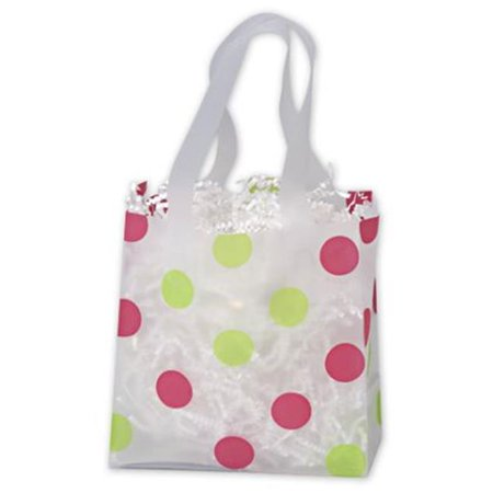 Deluxe Small Business Sales 268 060306 Pgdc 6 5 X 3 5 X 6 5 In  Dots Frosted Flex Loop Shoppers  44  Pink And Green On Clear