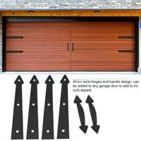 YLSHRF Garage Door Hardware, Garage Door Hinges,Decorative Carriage Garage Door Hardware Kit for House Arrow Style Hinges and Handles