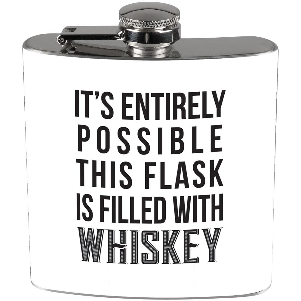 This Flask is Filled with Whiskey Full Wrap Steel Flask White