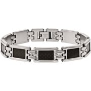 Stainless Steel Black Carbon Fiber Bracelet, 9.25