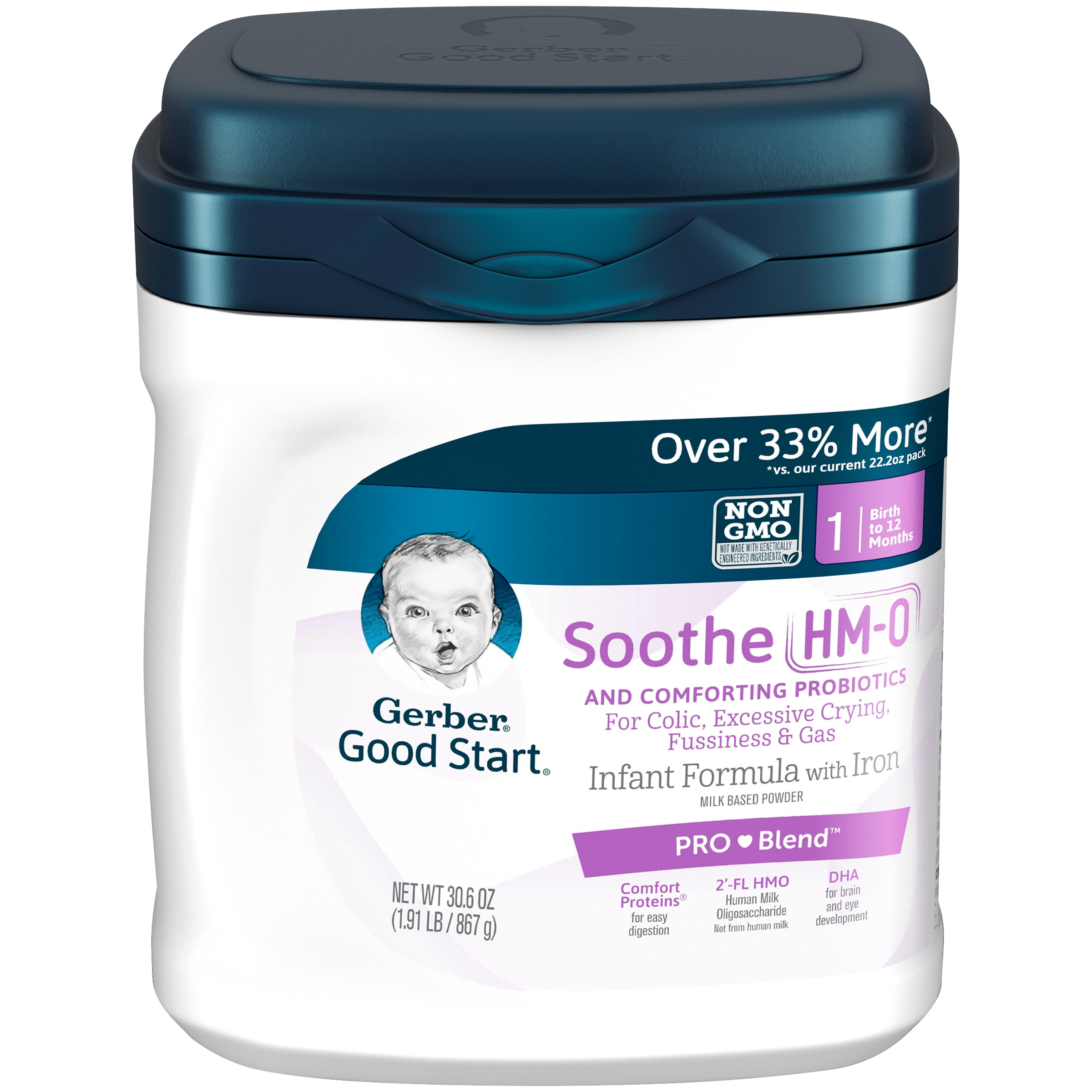 Gerber Good Start Soothe (HMO) Non-GMO Powder Infant Formula, Stage 1, 30.6 oz (Pack of 4)