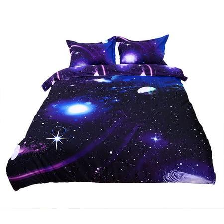 Galaxy Sky Cosmos Night Pattern Queen Size Bedding Quilt Duvet Set Dark Purple
