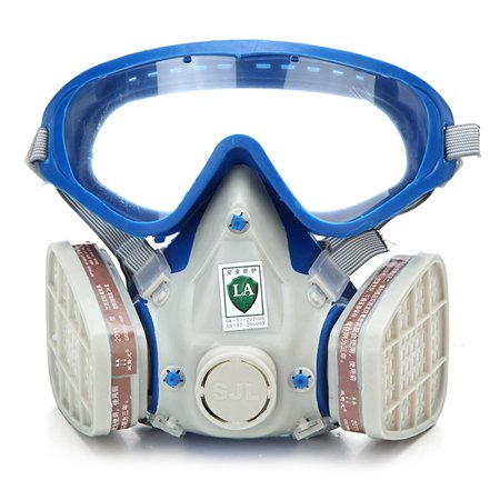 - Full Face Industrial Safety Gas Mask Paint Chemical Pesticide Mask Eye Glasses Respirator Dustproof Fire Escape Emergency