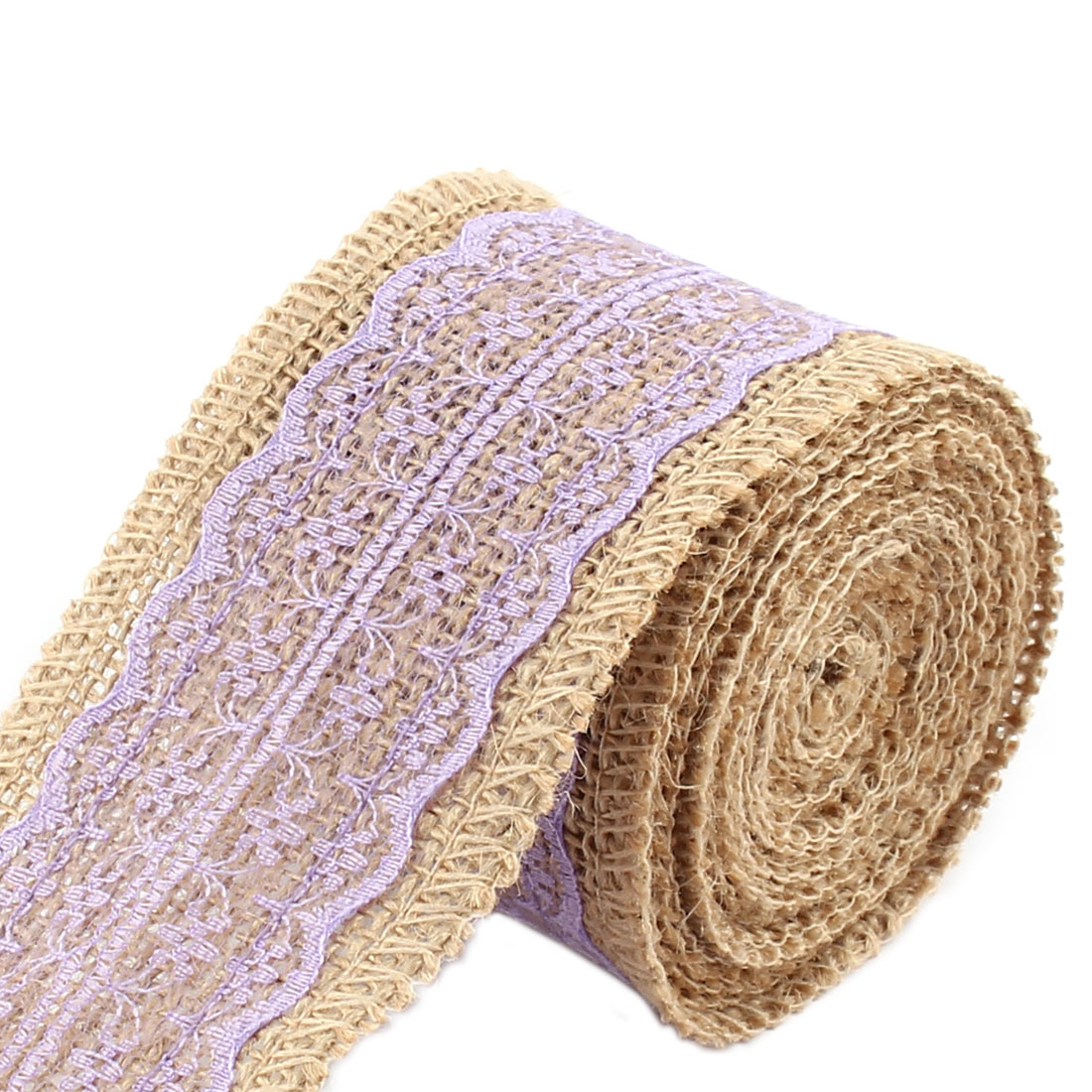Unique Bargains Christmas Burlap DIY Gift Wrapping Packing Craft Ribbon Roll Light Purple