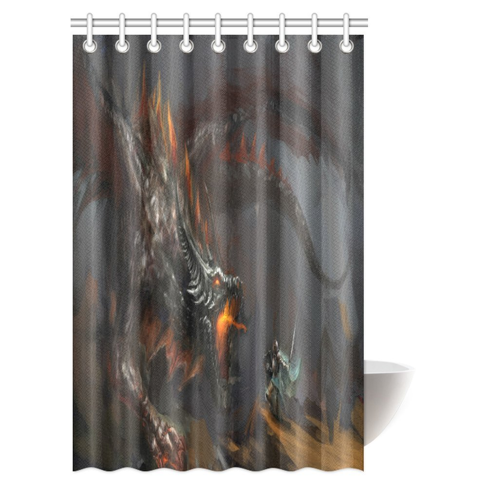 Waterproof Fabric Bathroom Decor Fly Fire Dragon Battle Shower Curtain Set Hooks