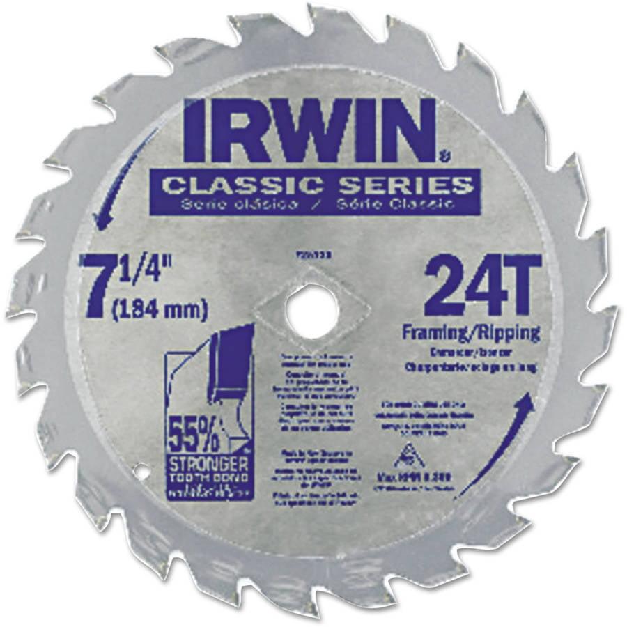 "Irwin Classic Series Circular Saw Blade, Framing/Ripping, 24T, 7 1/4"", 18 Hook"