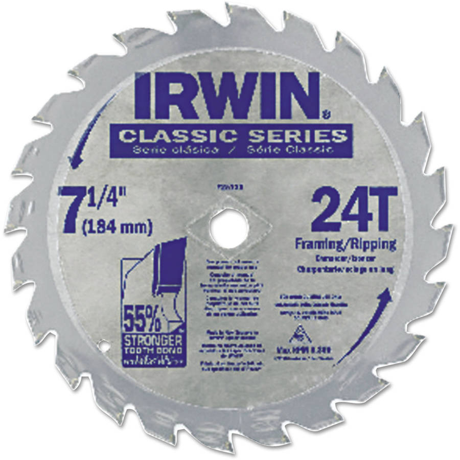 "Irwin Classic Series Circular Saw Blade, Framing/Ripping, 24T, 7 1/4"", 18 Hook"