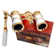 HQRP Opera Glasses w/ Crystal Clear Optic (CCO) White-Pearl with Gold Trim w/ Built-In Extendable Handle and Red Reading Light