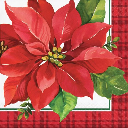 """Christmas Poinsettia Paper 16 Ct 6.5"""" Luncheon Napkins"""