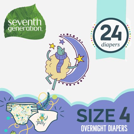 Seventh Generation Overnight Diapers Size 4, 1 pack of 24 (24 ct) ()