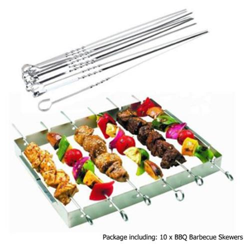 AGPtek 10pcs Long Stainless Steel BBQ Skewers Kabob Skewers Fork length: 39CM/15.35 inches