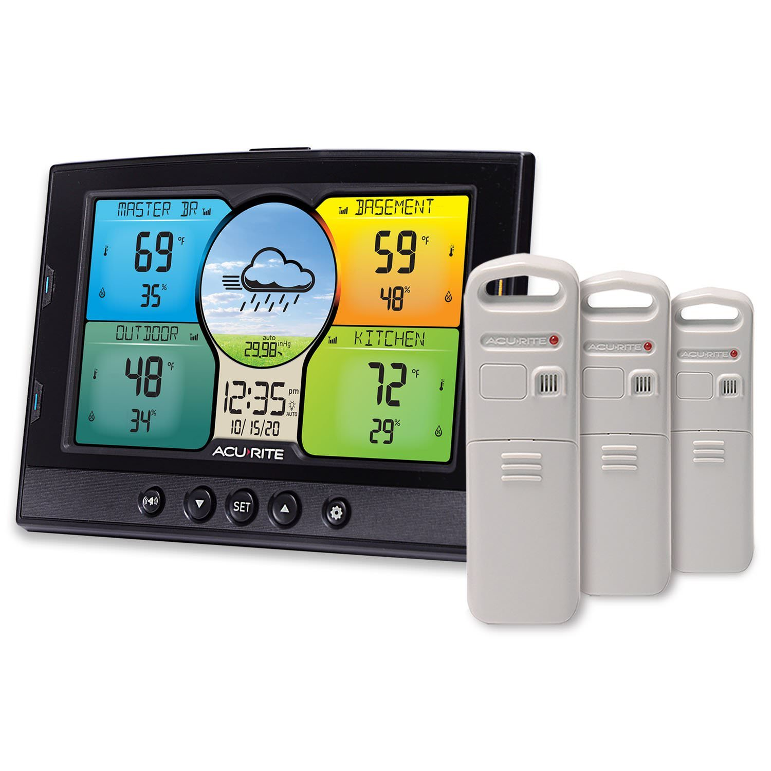 Indoor & Outdoor Multi-Sensor Display with 3 Temperature and Humidity Sensors