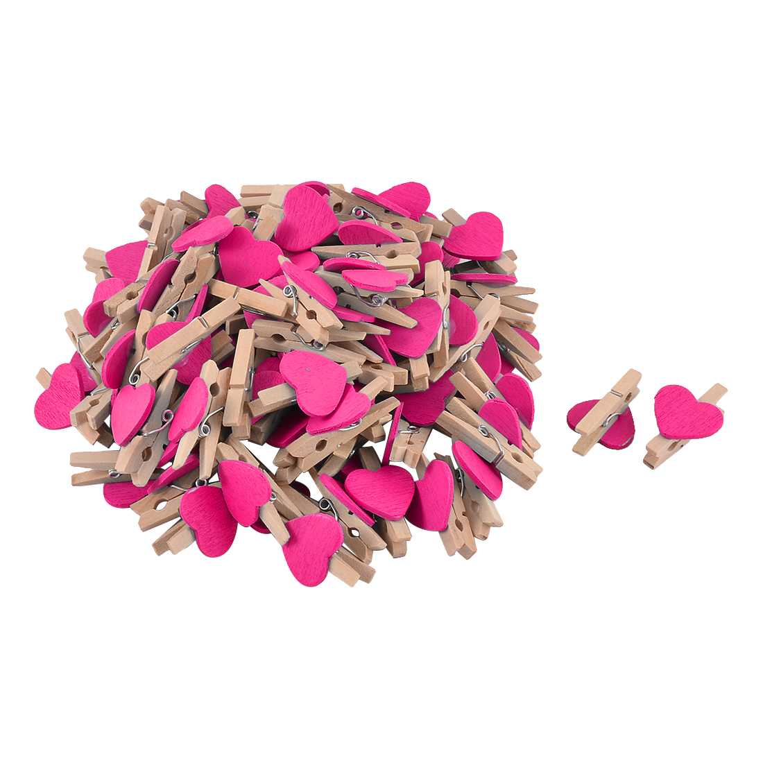 Unique Bargains Card Photo Clothes DIY Crafts Spring Pegs Mini Wooden Clip Fuchsia 100pcs
