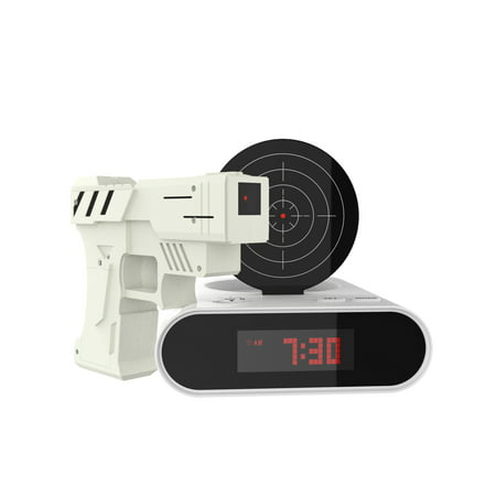 Toy Gun Alarm Clock Game Infrared Laser Activated Snooze Target Record Personalized