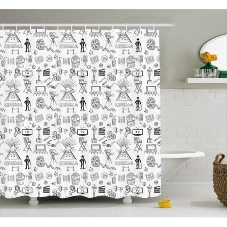 Movie Theater Shower Curtain Hand Drawn Style Cinema Pattern With