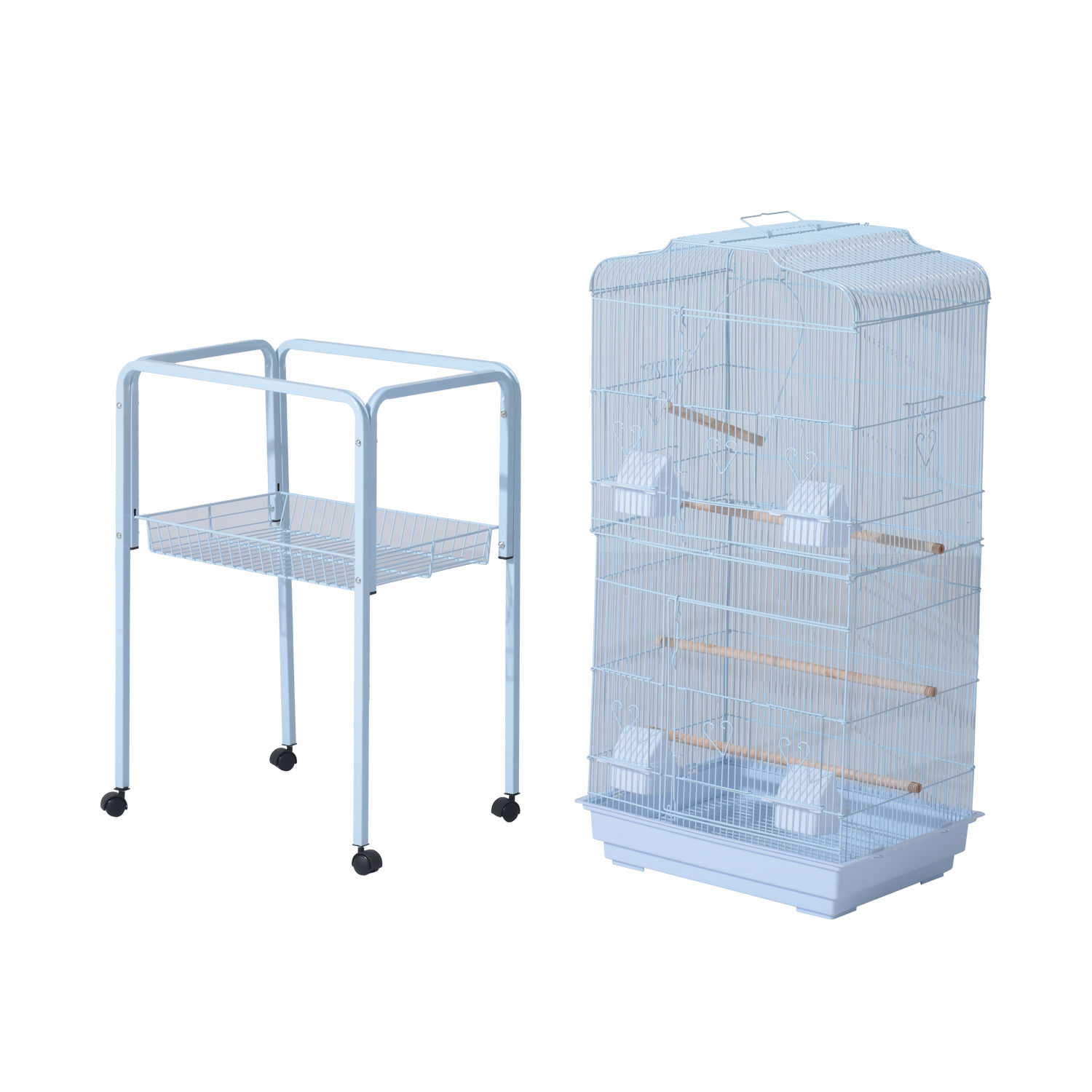 and Accessories Storage Basket PawHut 63 Metal Indoor Bird Cage Starter Kit with Detachable Rolling Stand