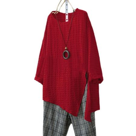 cddf7a11cf2 Plus Size Women Long Sleeve Cotton Linen Kaftan Baggy Blouse T Shirt Loose  Tops - Walmart.com